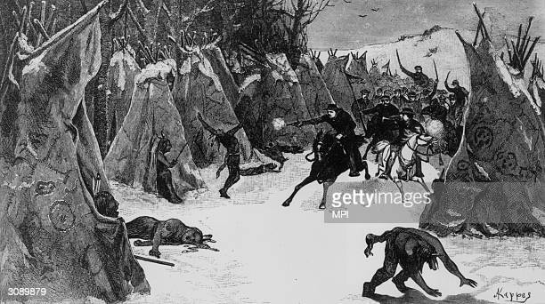 A scene from the battle of Washita fought between American cavalry led by Lieutenant Colonel George Custer and native American warriors led by the...