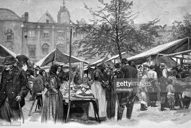scene from the city market where you can buy the necessary things for your home - 1896 - 1896 stock illustrations, clip art, cartoons, & icons