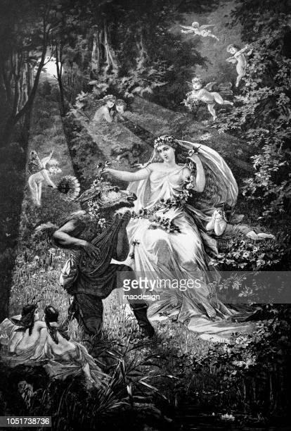 szene aus der märchenwelt mit einem märchen und ein geheimnisvolles wesen halb mensch und halb pferd - 1888 - gliedmaßen körperteile stock-grafiken, -clipart, -cartoons und -symbole