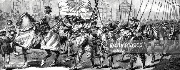 ilustrações, clipart, desenhos animados e ícones de cena da parada medieval com os cavaleiros - 1887