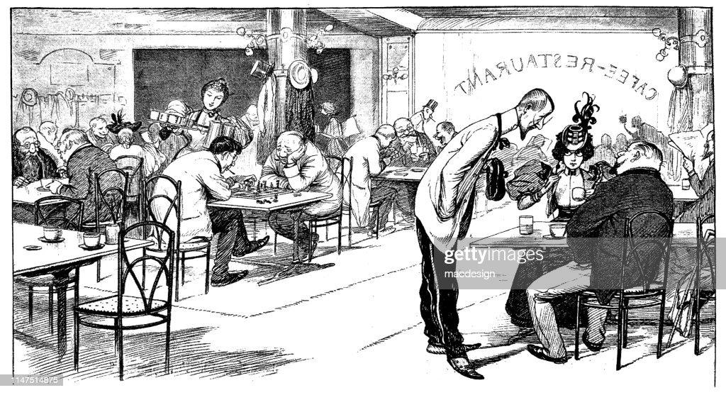 Scene from the restaurant : stock illustration