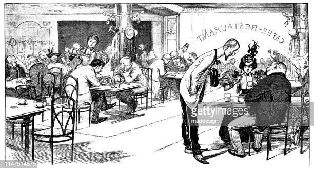 scene from the restaurant - human settlement stock illustrations, clip art, cartoons, & icons