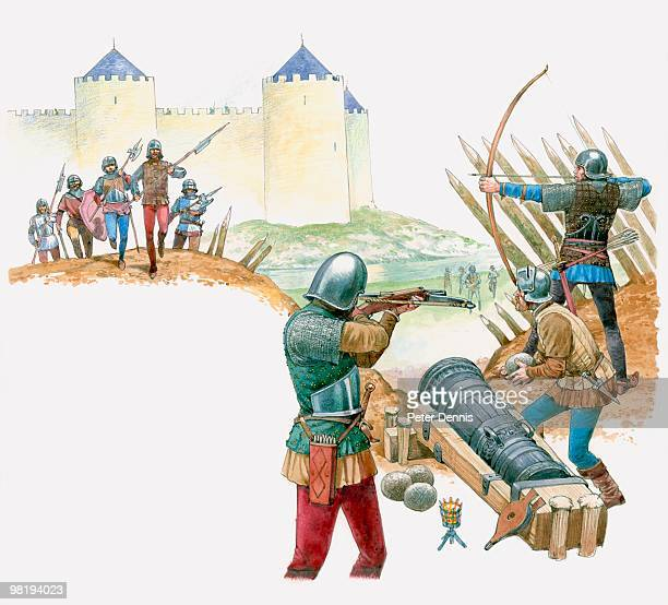Scene from the Siege of Orleans, French forces attacking English strongholds on the riverbank, 1429
