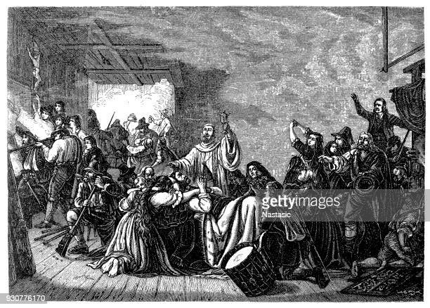 scene from the struggle of the upper bavarian, peasants fought 1705/06 against french empire - louis xiv of france stock illustrations, clip art, cartoons, & icons
