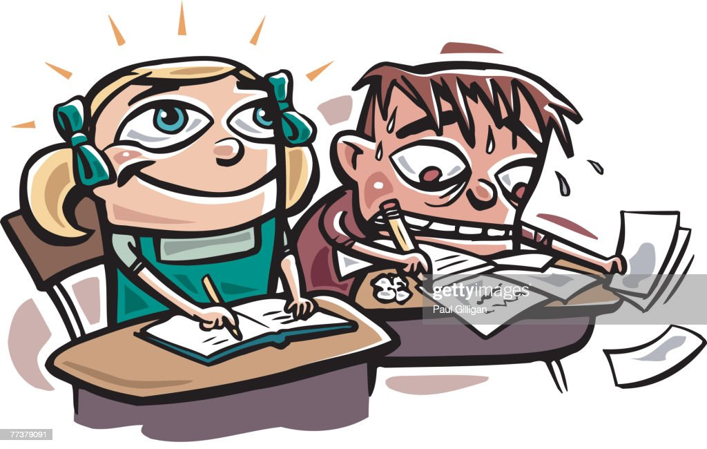 A scene in a classroom showing an enthusiastic girl and a stressed out boy : Illustration