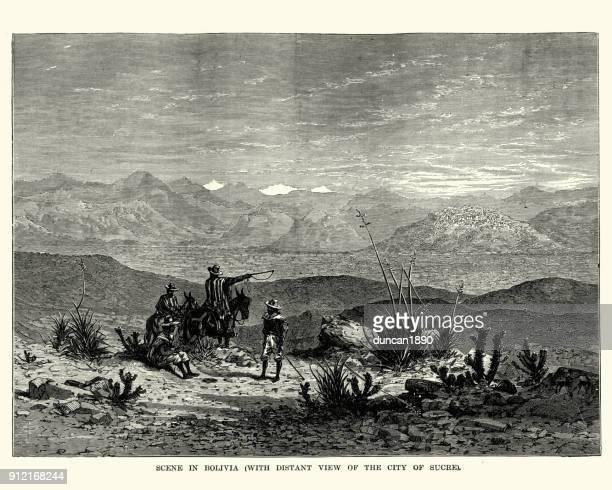 Scene in Bolivia, City of Sucre in distance, 19th Century