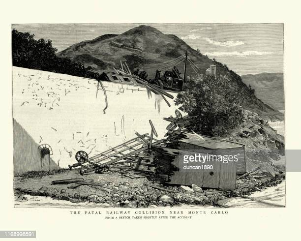 scene of a railway accident, collision near monte carlo, 1886 - monte carlo stock illustrations, clip art, cartoons, & icons