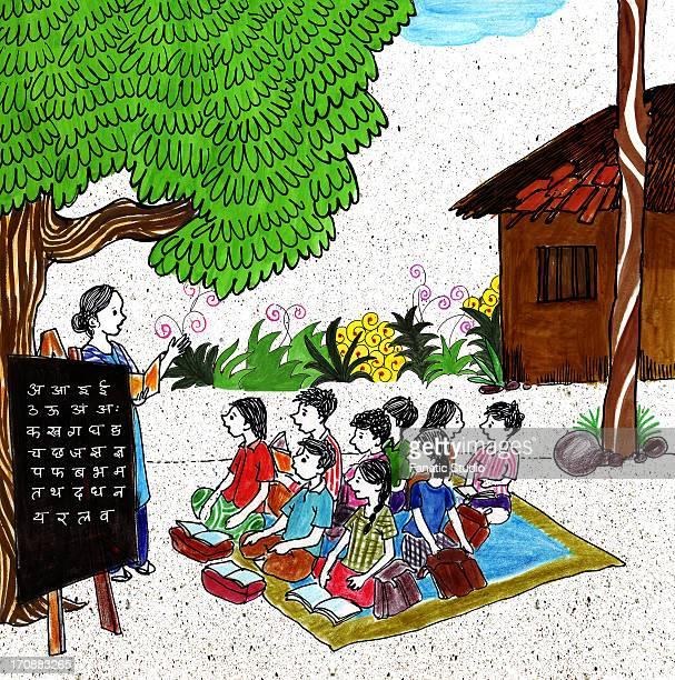 scene of a rural school - shank stock illustrations, clip art, cartoons, & icons
