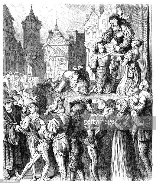 Scene of execution from Titus Andronicus a tragedy by William Shakespeare