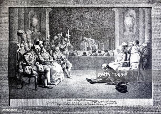 scene of hamlet: people in a circle talking ot each other, 1780 - william shakespeare stock illustrations, clip art, cartoons, & icons