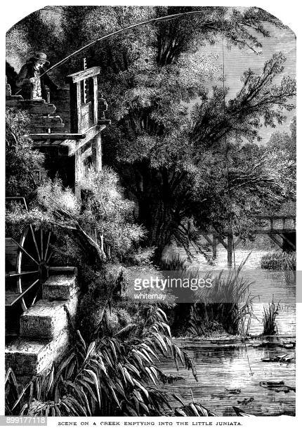 scene on a creek emptying into the little juniata river - sluice stock illustrations