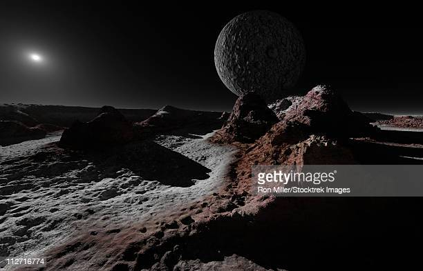 a scene on pluto with charon, its giant moon. - pluto dwarf planet stock illustrations