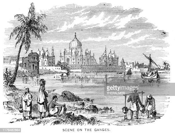 scene on the ganges engraving 1881 - palace stock illustrations