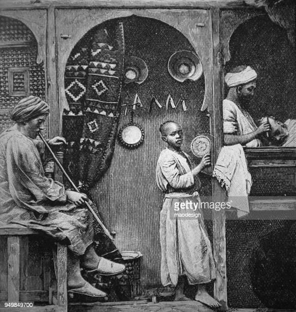 illustrations, cliparts, dessins animés et icônes de scène par un arabe barbier _ 1895 - coiffeur humour