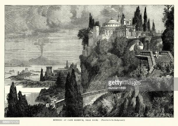 scenery at cape misenum. near balae, vesuvius behind - mt vesuvius stock illustrations, clip art, cartoons, & icons