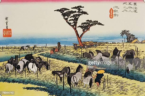 scenery of chiryu in edo period, painting, woodcut, japanese wood block print - incidental people stock illustrations