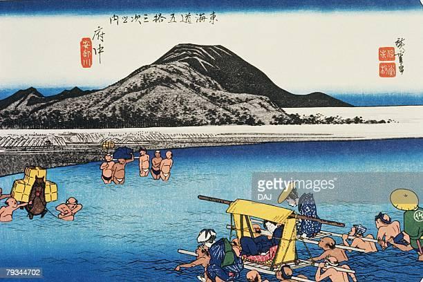 illustrations, cliparts, dessins animés et icônes de scenery of fuchu in edo period, painting, woodcut, japanese wood block print - estampe japonaise