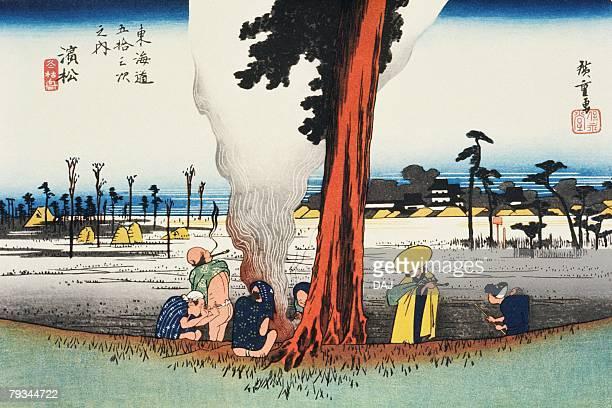 illustrations, cliparts, dessins animés et icônes de scenery of hamamatsu in edo period, painting, woodcut, japanese wood block print - estampe japonaise