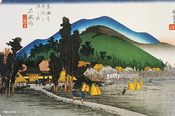 ilustraciones, imágenes clip art, dibujos animados e iconos de stock de scenery of ishiyakushi in edo period, painting, woodcut, japanese wood block print - grupo mediano de personas