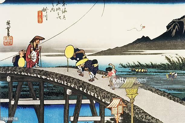 scenery of kakegawa in edo period, painting, woodcut, japanese wood block print - incidental people stock illustrations