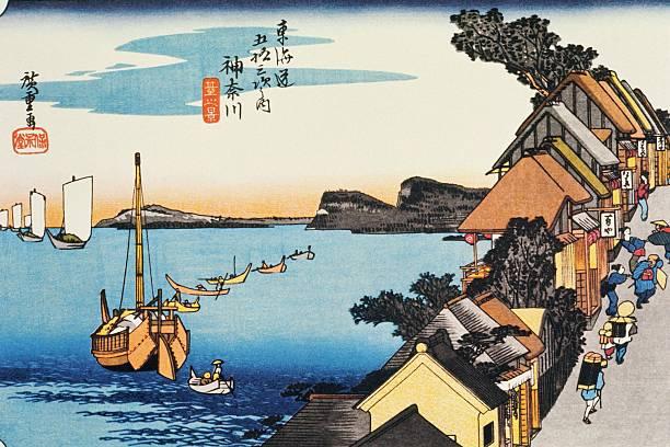 Scenery Of Kanagawa In Edo Period, Painting, Woodcut, Japanese Wood Block Print Wall Art