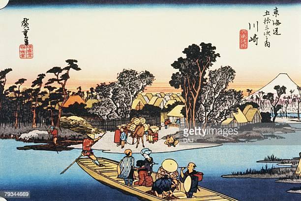 scenery of kawasaki in edo period, painting, woodcut, japanese wood block print - incidental people stock illustrations
