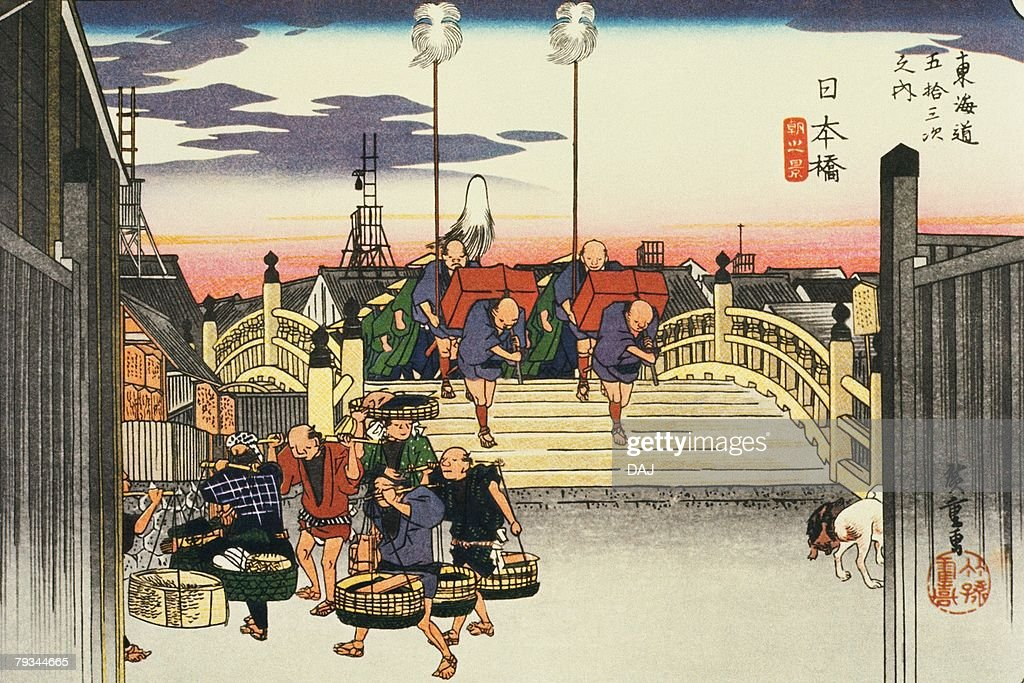 Scenery of Nihonbashi in Edo Period, Painting, Woodcut, Japanese Wood Block Print : stock illustration