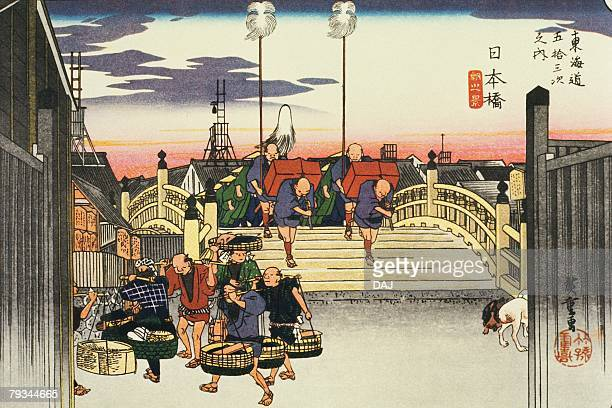 scenery of nihonbashi in edo period, painting, woodcut, japanese wood block print - tokyo japan stock illustrations, clip art, cartoons, & icons