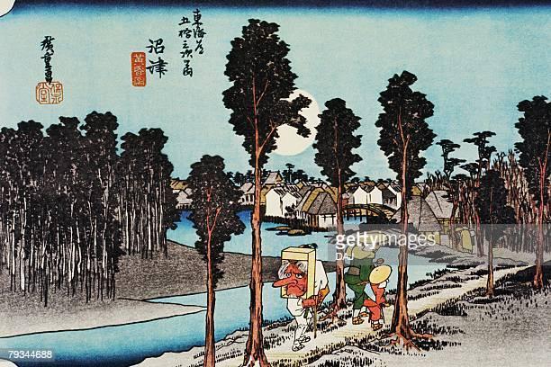 illustrations, cliparts, dessins animés et icônes de scenery of numazu in edo period, painting, woodcut, japanese wood block print, rear view - estampe japonaise