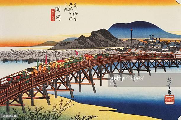 illustrations, cliparts, dessins animés et icônes de scenery of okazaki in edo period, painting, woodcut, japanese wood block print - estampe japonaise