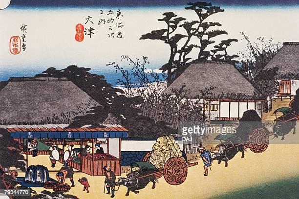 illustrations, cliparts, dessins animés et icônes de scenery of otsu in edo period, painting, woodcut, japanese wood block print, high angle view - estampe japonaise