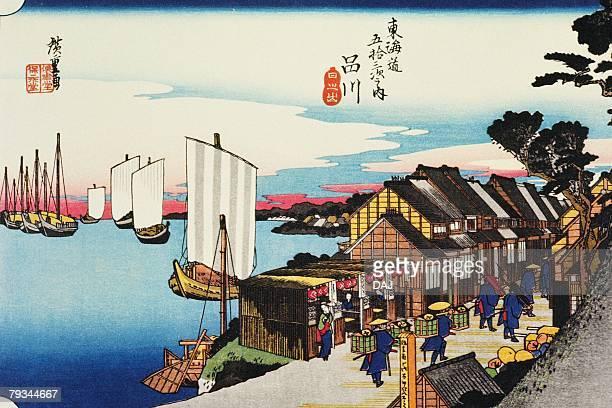 scenery of shinagawa in edo period, painting, woodcut, japanese wood block print - incidental people stock illustrations