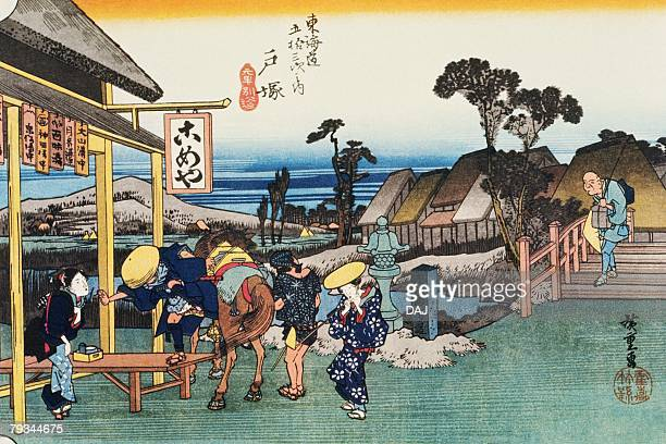 illustrations, cliparts, dessins animés et icônes de scenery of totsuka in edo period, painting, woodcut, japanese wood block print - estampe japonaise