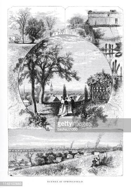 scenes at springfield, connecticut river, valley of the connecticut, massachusetts, united states, american victorian engraving, 1872 - connecticut river stock illustrations, clip art, cartoons, & icons