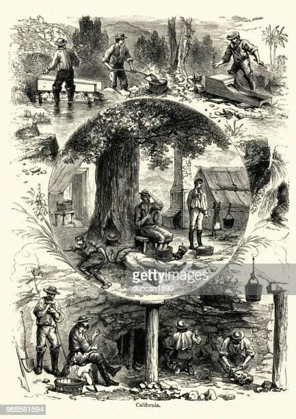 scenes from california, 19th century, gold miners - california gold rush stock illustrations