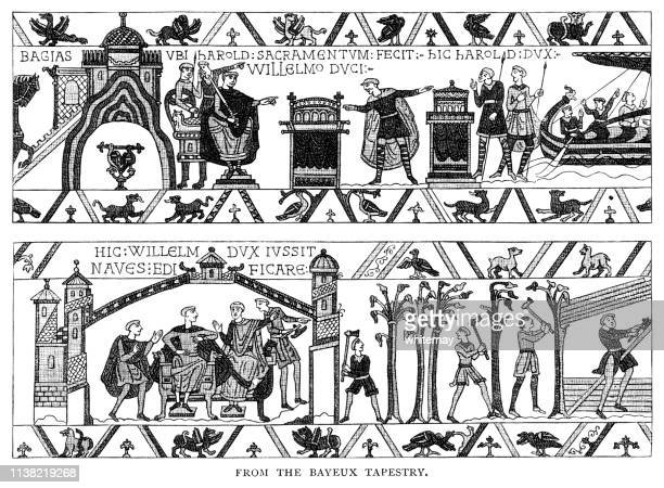 scenes from the bayeux tapestry - victorian engraving - tapestry stock illustrations