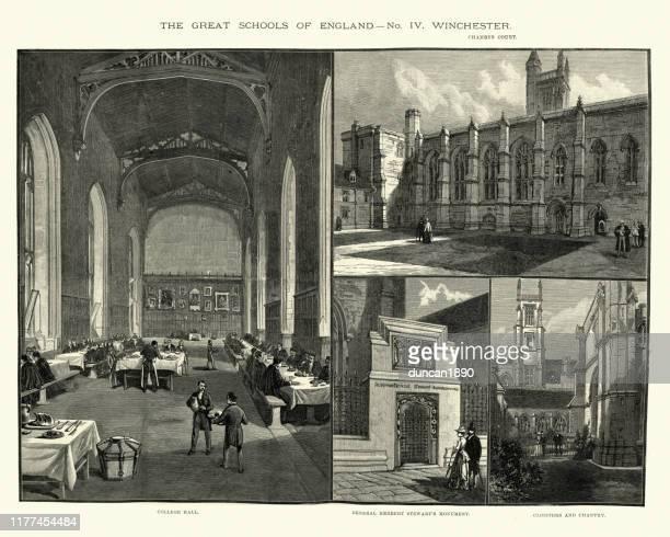 ウィンチェスター大学、ビクトリア朝19世紀の風景 - グレートホール点のイラスト素材/クリップアート素材/マンガ素材/アイコン素材