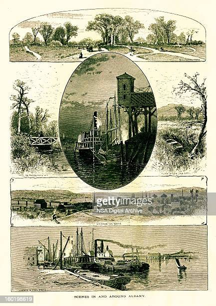 scenes in and around albany, new york - steam stock illustrations