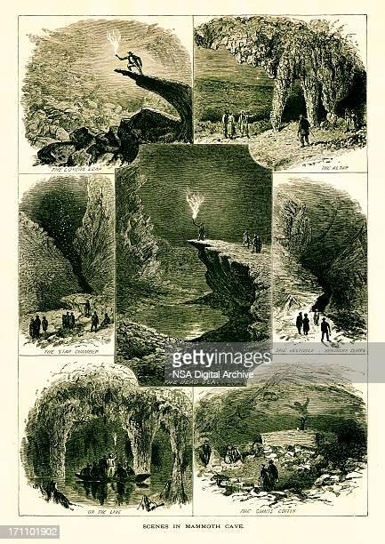 scenes in mammoth cave, kentucky - speleology stock illustrations