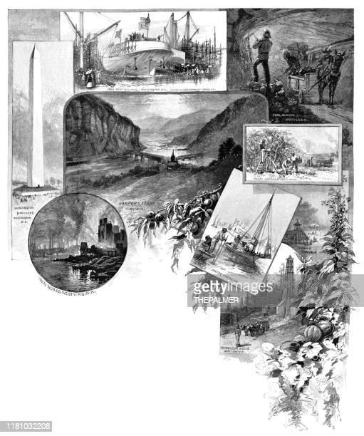 1886年のメリーランドとウェストバージニアの彫刻の風景 - 浚渫点のイラスト素材/クリップアート素材/マンガ素材/アイコン素材
