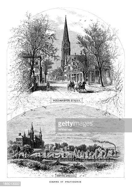 scenes in providence, rhode island (victorian engraving) - spire stock illustrations, clip art, cartoons, & icons
