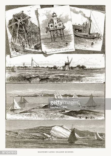 scenes of eastern long island, new york, united states, american victorian engraving, 1872. - sag harbor stock illustrations