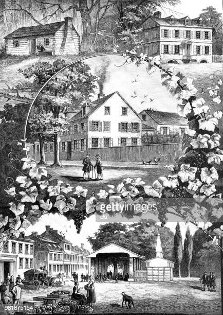 scenes of germantown, usa - germantown new york state stock illustrations, clip art, cartoons, & icons