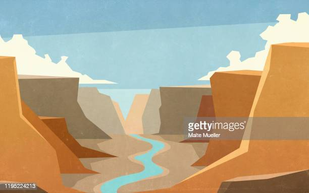 scenic canyon and river landscape view - silence stock illustrations