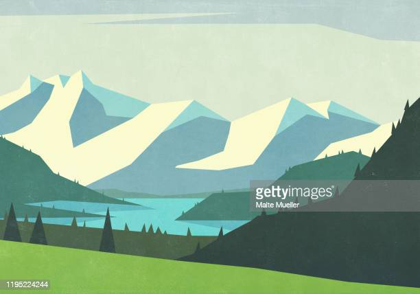 scenic landscape view mountains and tranquil river - outdoors stock illustrations
