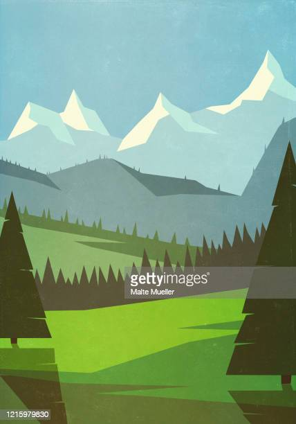 scenic mountain landscape - outdoors stock illustrations