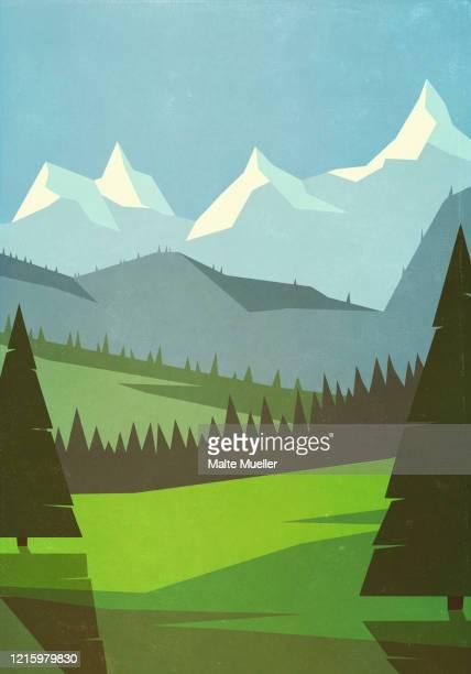 scenic mountain landscape - landscape stock illustrations
