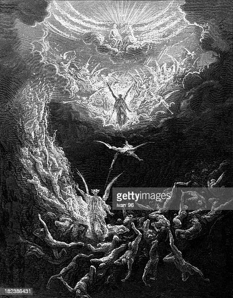 scenic painting of the last judgment - gustave dore stock illustrations, clip art, cartoons, & icons