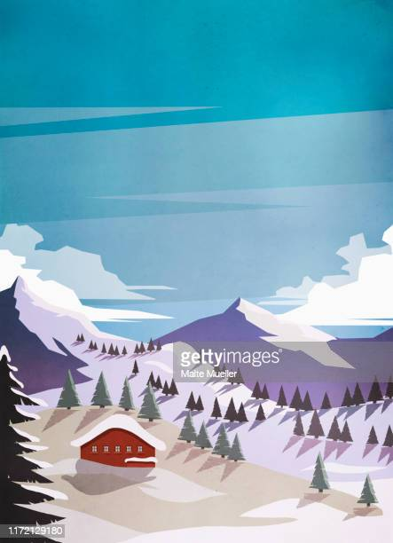 scenic view cabin among snowy mountains - silence stock illustrations