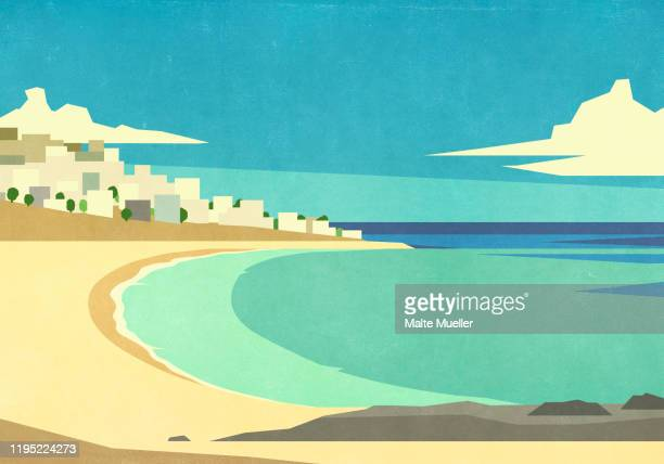 scenic view of sunny ocean beach - horizontal stock illustrations
